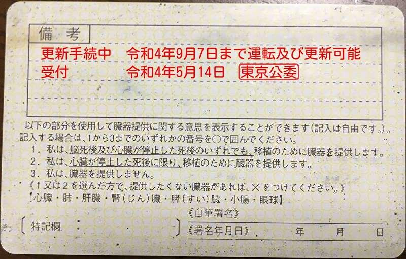 経由地申請の更新手続中の裏書