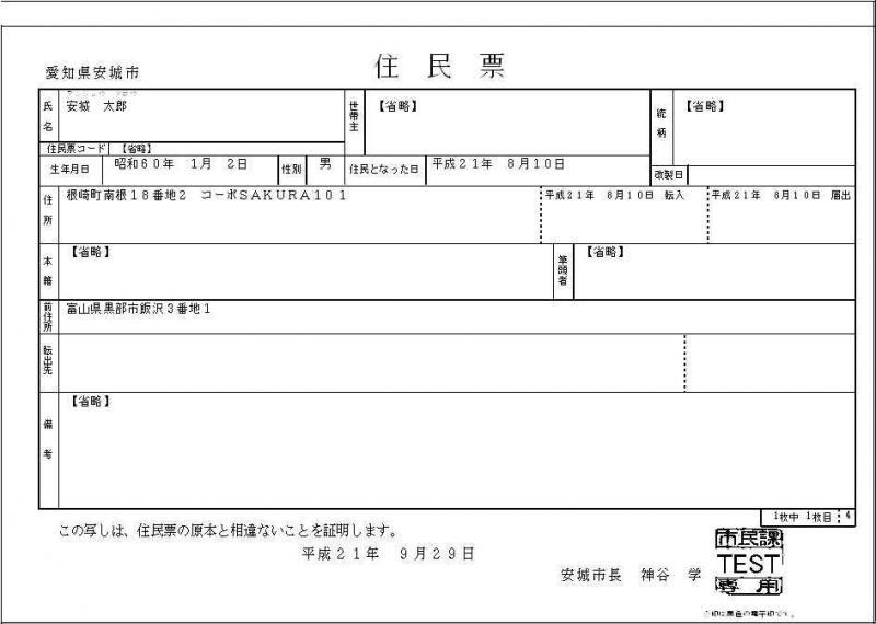 住民票抄本(個人式・個人票)の見本